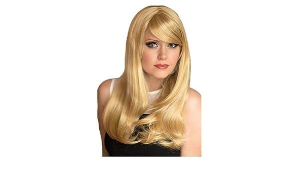 De largo Natural Annabelle de las pelucas un número muy, de color dorado y de luz de rubia de, corte de la maquinilla de afeitar, el marco de la cara ...