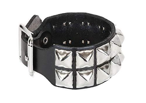 (YDS Accessories 2-Row Silver Pyramid Stud Black Leather Wristband Cuff Bracelet w/Buckle Closure)