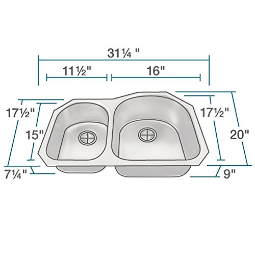 US1031R 18-Gauge Undermount Offset Double Bowl Stainless Steel Kitchen Sink by MR Direct (Image #2)