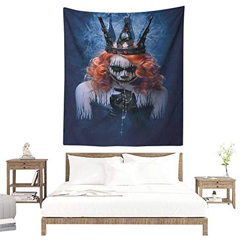 Willsd Queen Tapestry Queen of Death Scary Body Art Halloween Evil Face Bizarre Make Up Zombie Tapestry for Home Decor 54W x 72L INCH Navy Blue Orange Black]()