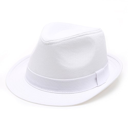 Classic Trilby Short Brim 100% Cotton Twill Fedora Hat with Band(White,SM)