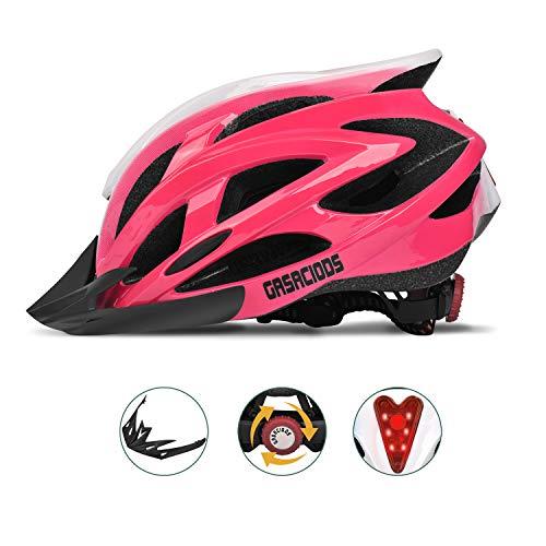 GASACIODS Bike Helmet, CPSC Certified Adjustable Light Bicycle Helmet Specialized Cycling Helmet for Adult Men&Women Road and Mountain Bike Helmet with Detachable Visor&Rear LED Light