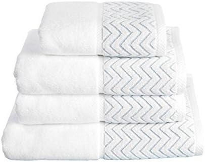 Urbanite lujo 100% algodón peinado Toallas 600 g/m² - Frontera del zigzag (Azul, Toalla de baño): Amazon.es: Hogar