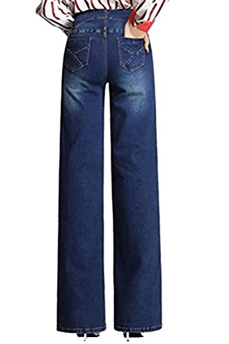 Oficina anchos Pull Cintura de Blue Dark en Señora mujer pantalones J alta vaqueros Leg Pants FlojoWide Denim la ntTdI0
