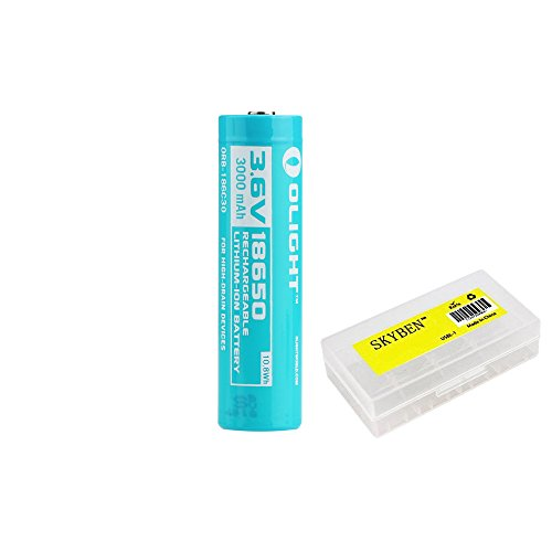 Olight 3000mAh 3.6V 18650 Rechargeable Li-ion Battery Rechargeable Li-ion Batteries For High Drain Devices For H2R with SKYBEN Battery Case (18650 3000mAh Battery)