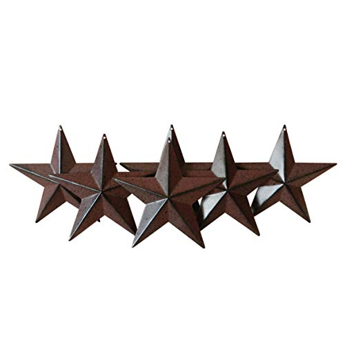 CVHOMEDECO. Country Rustic Antique Vintage Gifts Metal Barn Star Wall/Door Decor, 4-Inch, Set of 6. (Burgundy) (Burgundy Star)