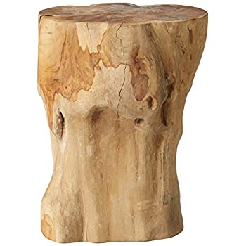 Image of Home and Kitchen Teak Reclaimed Stump Style Table or Stool | Natural, Kiln-Dried Teak | Product Varies in Size, Shape, and Color
