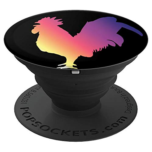 Sunrise Rooster - Sunrise Rooster - Beautiful pink, yellow, and purple chicken - PopSockets Grip and Stand for Phones and Tablets