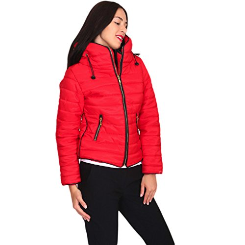 Inside Length Zipped H Quality Long Size High Inspired Full Quilted Faux High amp;F Puffer Winter Women Hip 8 Sleeve Collar Bubble Zara Padded Fur Jacket Coat Girls Ladies 14 Up Red 12 Zip Plain 10 1Xr41nHq