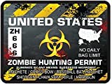 United States Zombie Hunting Permit Decal Danger Zone Style