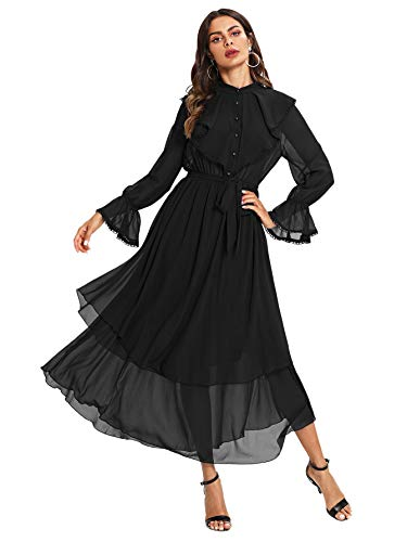- Milumia Women's Contrast Lace Ruffle Detail Crochet Trim Belted Tiered Layer Flowy Maxi Dress Black L