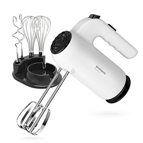 SHARDOR Hand Mixer Electric 5-speed+Soft Start, Ejector Button, Handheld Mixer includes Beaters, Dough Hooks, Whisks and a Storage Base, for Arthritis, Beginners and so on, White (HM215B)