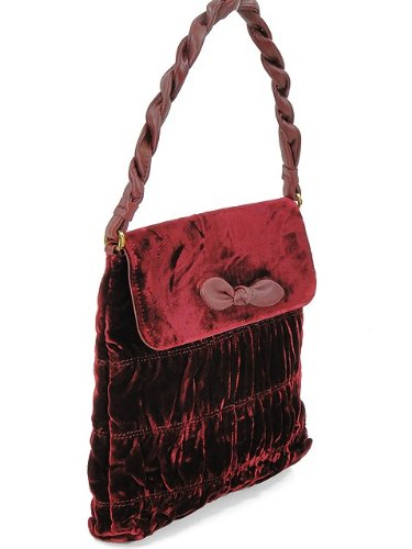 439cbb4798d0 Image Unavailable. Image not available for. Color  Moschino Handbag - Burgundy  Ruched Velvet Handbag