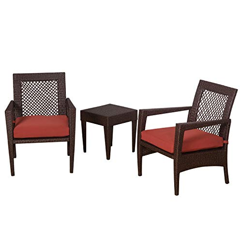 Auro Brisbane Outdoor Furniture | 3 Piece Rattan Patio Set | All-Weather Brown Wicker Bistro Set with 2 Water Resistant Olefin Cushioned Chairs & End Table | Porch, Backyard, Pool, Garden (Orange) For Sale