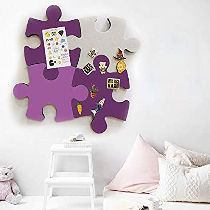 Felt Bulletin Cork Board Tiles 4 pcs Puzzle Shape Wall Stickers Pin Board w//Self Adhesive to Keep Memories Photos Memos Display Board Pads Pictures Drawing Goals Notes Colorful Foam Wall Decorative