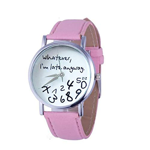 ZODRQ Watch,Unisex Wrist Watch Whatever, I'm Late Anyway Letter Leather Strap Watches Quartz Watch Women Ladies Girl (Pink)