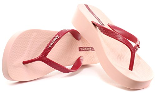 Ipanema Brasil Platform Damen Flip Flops, Pink-Weinrot, Größe 37