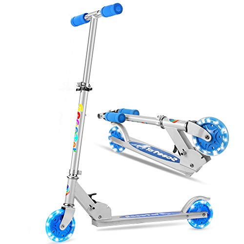 OUTON K2 Folding Kick Scooter 2 Wheel Kids Scooter, 3 Adjustable Height, LED Light Up Wheels Scooter for Kids Ages 4 to 15 Blue ()