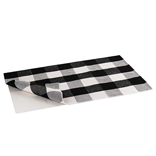 Rug Black Rain (Buffalo Plaid Rug | Buffalo Check Outdoor Rug | Black and White Checkered Outdoor Rug | Front Door Mat | Porch, Kitchen & Indoor Rugs | Cotton Welcome Rug | Washable 24x36 Inches + Bonus Anti-Slip Mat)