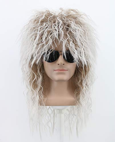Yuehong Long Curly Rock Star Style Wigs Halloween Cosplay Wig Anime Wigs -