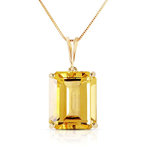 14k Solid White, Rose, and Yellow Gold Necklace with 6.5 Carats Octagon-Cut Natural Citrine (yellow-gold, 20)