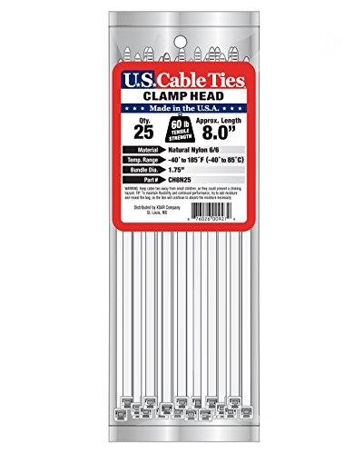 [해외]미국 케이블 타이 CH8N25 8 인치 클램프 헤드 타이, 내츄럴, 25 팩/US Cable Ties CH8N25 8-Inch Clamp Head Ties, Natural, 25-Pack