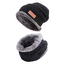 MissShorthair Slouch Beanie Winter Hat Scarf Set for Women(1*Knit Hat,1*Neck Warmer)