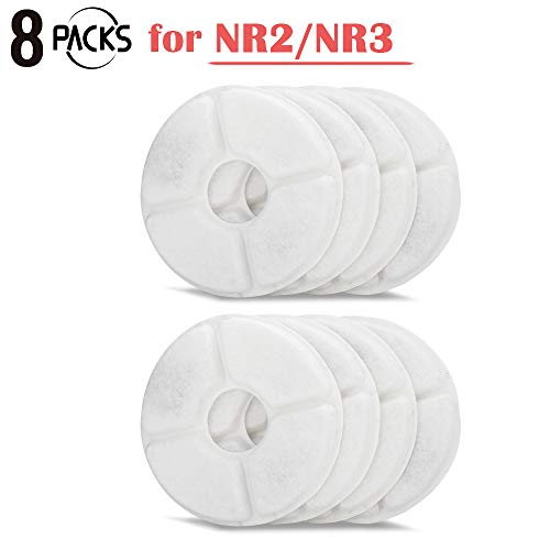 iPettie 8 PCS Water Fountain Filters for Neko NR Pet Drinking Water Fountain, Compatible with iPettie NEKO NR2/NR3 Water Fountains, 8 Packs Filter for Pet Drinking Water Purification
