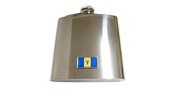 Barbados Flag Stainless Steel Hip Flask 6oz