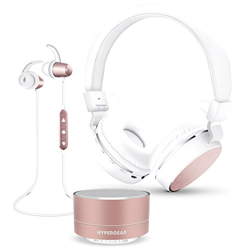 HyperGear Bluetooth 4.1 Technology Flexible Compatibility Wireless Gift Set (Foldable Stereo Headphones, Stereo Earbuds, Portable Speaker) (Rose (Aircraft Gift Set)