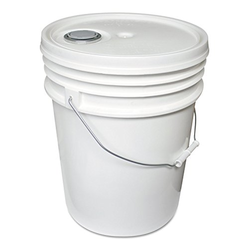 Impact 5515 Polyethylene Pail with Lid, 5 Gallon Capacity, 14-1/2'' Height x 1-1/4'' Depth, White (Case of 5) by Impact Products