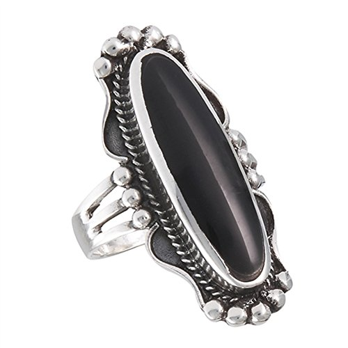 Long Simulated Black Onyx Bali Rope Halo Beaded Ring .925 Sterling Silver Band Size 8 ()