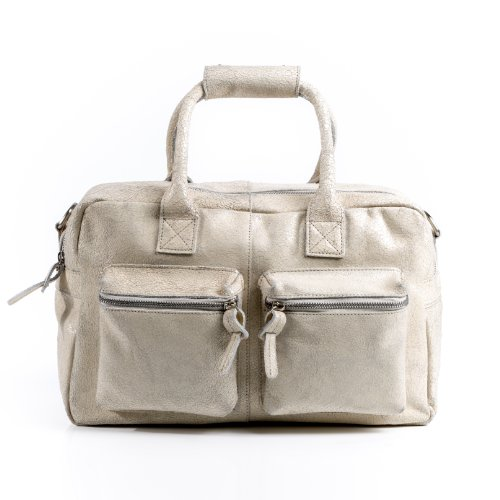 BACCINI bolso de mano LARA: cartera con asas cortas para mujer GRANDE - estilo tote-bag de cuero blanco - diseño retro-vintage (37 x 24 x 19cm)