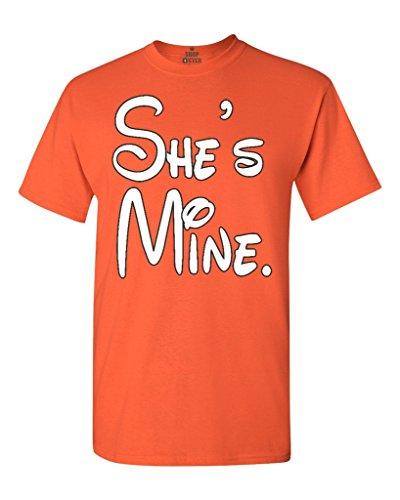 Cartoon Character She's Mine Unisex T-Shirt Couple Shirts Large Orange (Cartoon Character Couples)