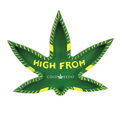 Rockin Gear Ashtray COLOWEEDO (Not Colorado Lol) Marijuana Leaf Shaped Unique joint Ashtray - ''HIGH FROM COLOWEEDO' 420 Friendly Pot Cannabis Cigarette Ashtray