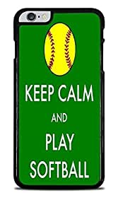 Keep Calm and Play Softball Black Hardshell Case for iPhone 6+ (5.5) by icecream design