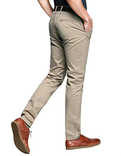 f688518d Match Mens Slim-Tapered Flat-Front Casual Pants(30W x 31L,Apricot-2) -  FrenzyStyle