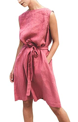 - TIGER FORCE Linen Dresses for Women Summer Casual Cotton Beach Tank Swing Sundress with Pockets Midi Dress V Backless Belt Coral Pink