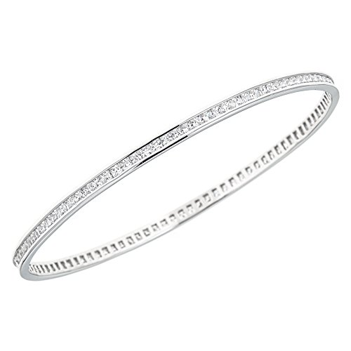 Channel Set Bracelet - Ritastephens Sterling Silver Cubic Zirconia Channel-set Eternity Slip On Bangle Bracelet 68mm