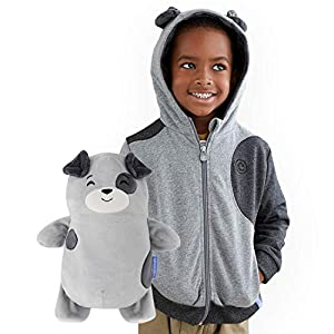 Cubcoats Pimm The Puppy – 2-in-1 Transforming Hoodie and Soft Plushie – Charcoal with Dog Spots
