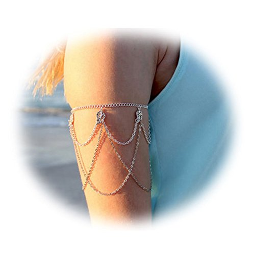 Zealmer Bohemian Tassels Leaf Armlet Silver Chain Fringes Upper Arm Bracelet Cuff For Women (Arm Jewelry)