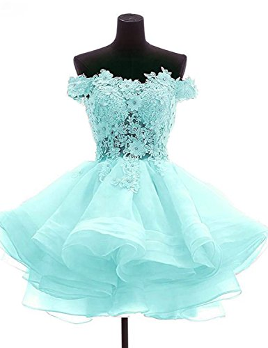 Fashion Knee Length Prom Dresses Plus Size Evening Dress Off The Shoulder Appliqued Manual Lace Beaded Organza Ruffled Bridal Short Homecoming Dress 2018 Girls Skirts LMOW3 Light Blue Size 24W