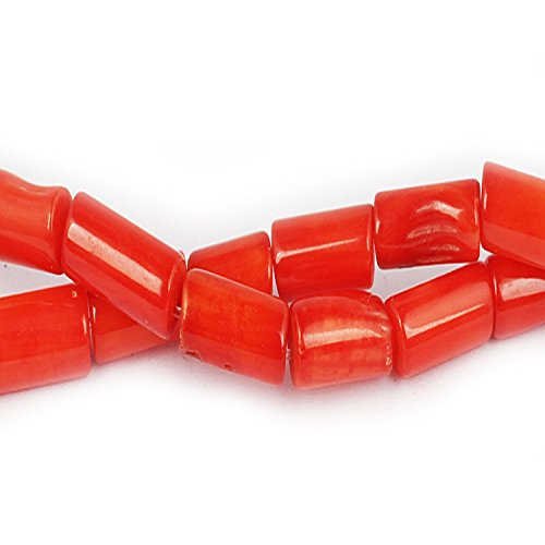 JUSTGIFTGEM Red Coral Beads Gemstone Tube Loose Beads Round seeds beads chip Bulk Wholesale Beads Handmade DIY for jewelry making (10mm x 5mm Red coral tube 28 beads)