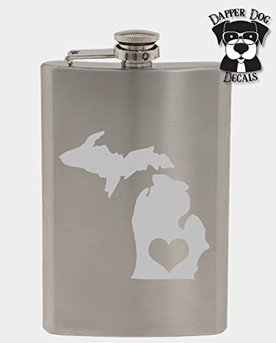 Michigan Pride I Heart My State Art Personalized Custom Hand Etched Stainless Steel 8 oz Flask Great Gift