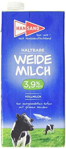 Hansano Haltbare Weidemilch 3.9%, 1 Liter – Leckere H-Milch von den grünen Wiesen Norddeutschlands