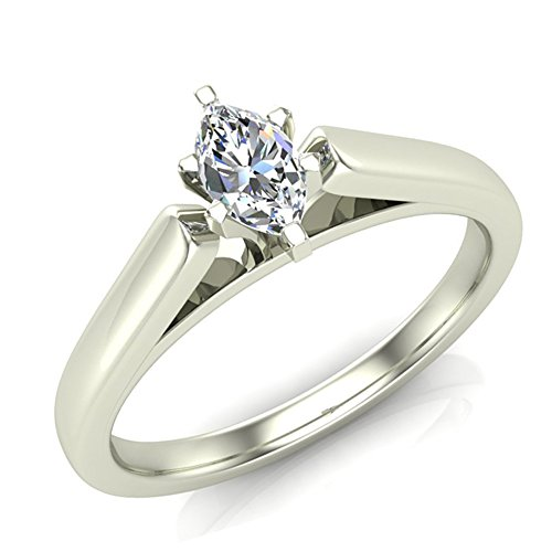 Marquise Brilliant Cut Diamond Solitaire Ring Comfort Fit Band 14K Gold 1/4 Carat Total Weight 0.25 ct (I,I1)