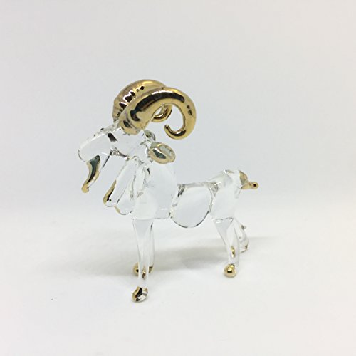 ALONG Goat Glass Blown Wild Crystal 22k Gold Home and Decor Handmade 100% Collectibles Set Show Doll House Miniature Made in Thailand