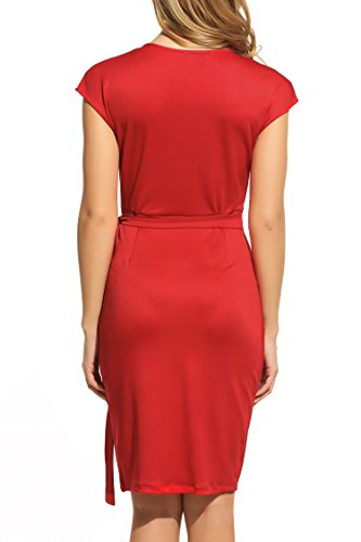 Women's Sleeve V Dress Cap Belt Wrap Red1 Faux Neck Cocktail Zeagoo Classic Draped Tie txwZqxU