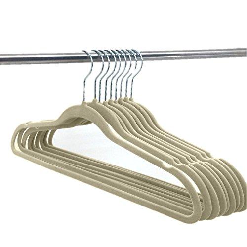 Deluxe Designer Non Slip Heavy Duty Velvet Hangers – IVORY – 10pk by Elaine Karen