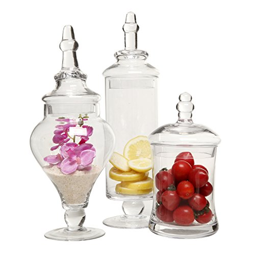 MyGift Designer Clear Glass Apothecary Jars (3 Piece Set) Decorative Weddings Candy -